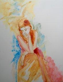 Repentance before Joy, watercolor on Yupo, Sara Joseph