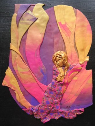 Refiner's Fire, Polymer Clay Relief Sculpture by Sara Joseph