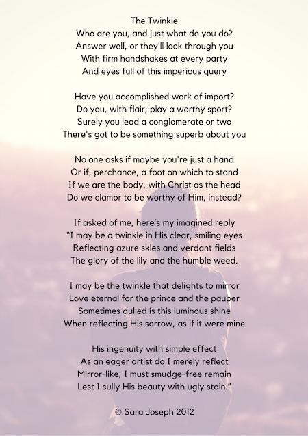 The Twinkle, poem, Sara Joseph