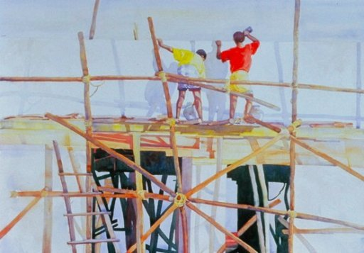 The Builders, Watercolor by Sara Joseph