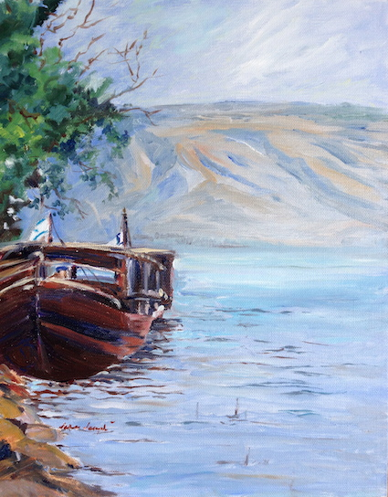 Boat on the Sea of Galilee, Oil by Sara Joseph