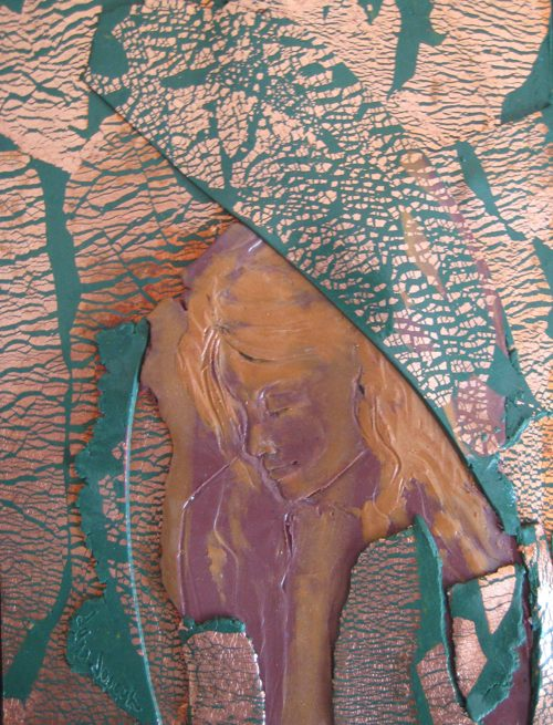 Burnt Offering, Polymer Clay Relief Sculpture by Sara Joseph