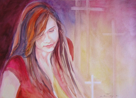 Crimson, Watercolor, Sara Joseph