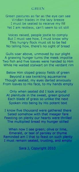 Green, Poem, Sara Joseph
