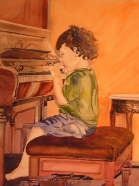 The Little Pianist, Watercolor, Sara Joseph