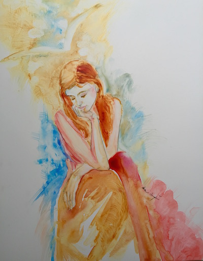 Repentance before Joy, watercolor on Yupo, Sara Joseph