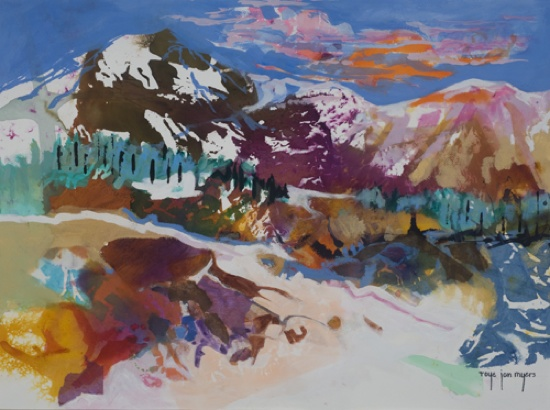 Rocky Mountain High, Mixed Media Collage Art by Roye Jan Myers