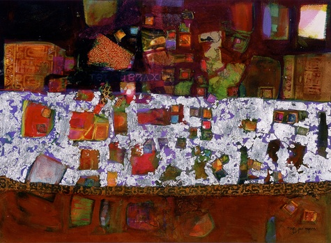 Silver Lining, Mixed Media Collage Art by Roye Jan Myers