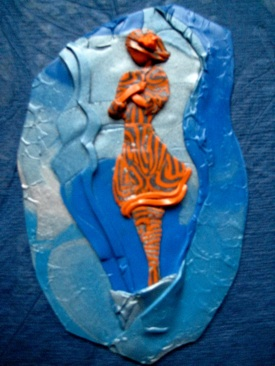 Surrender, Polymer Clay Relief Sculpture, Sara Joseph