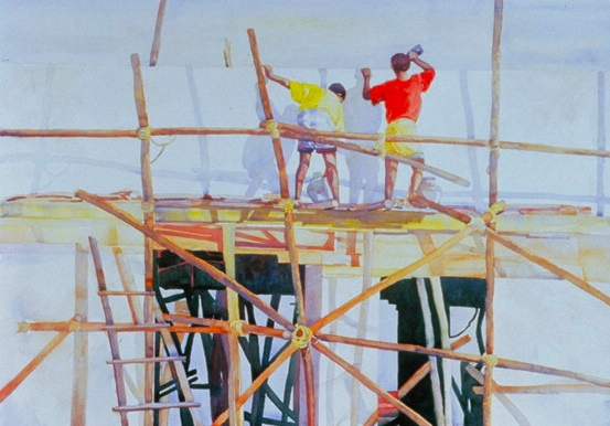 The Builders, Watercolor by Sara Joseph