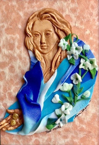 The Widow's Mites, Polymer Clay Relief Sculpture, Sara Joseph