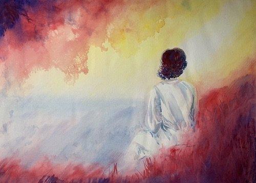 Seeking God, Watercolor, Sara Joseph, 22 x 30