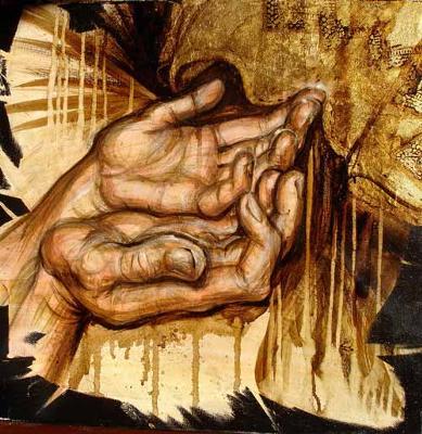 MT. 9 : Bitumen & shellac on canvas