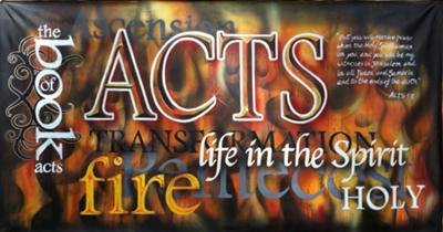 Airbrushed church banner