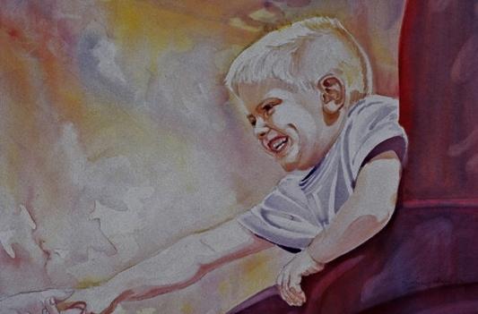 Portrait of Ricky, Watercolor by Sara Joseph