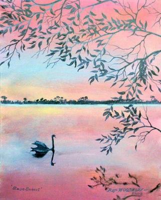 Swan Sunset Painting by Rex Woodmore