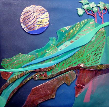 Night of Promise, Polymer Clay Relief Sculpture, Sara Joseph