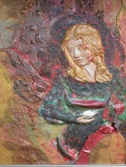 Peace in the Fire, Polymer Clay Relief Sculpture, Sara Joseph