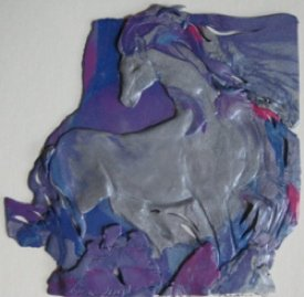 The Vain Horse, Polymer Clay Relief Sculpture, Sara Joseph
