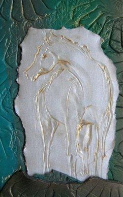 The White Horse, Polymer Clay Relief Sculpture, Sara Joseph